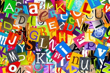 alphabet multicolore - mélange de lettres
