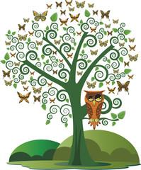 Coruja na árvore e borboletas.