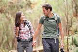 Couple hiking happy
