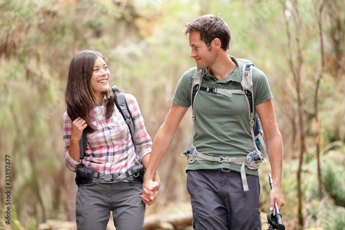 Couple hiking happy