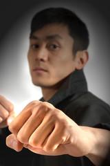 A martial artist posing