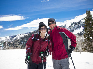 Married Couple on a Ski Vacation
