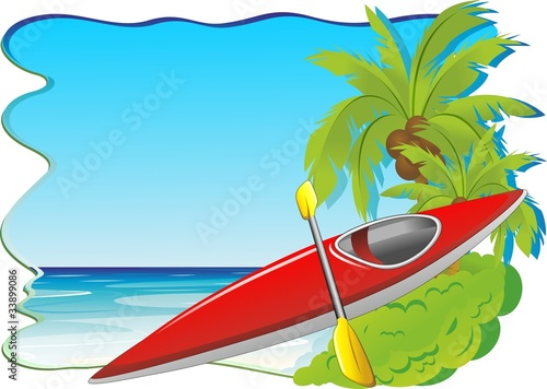 Canoa e Mare Sfondo-Sea and Kayak Canoe Background