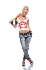 Punk girl with a bat