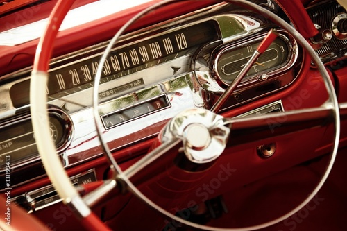 Wall mural Vintage car interior.
