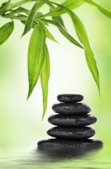 Basalt stones and bamboo design