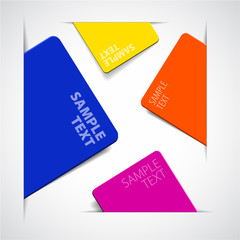 Set of vector colorful paper cards