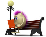 Haired puppet using laptop on brown bench