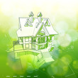 green architecture design: house, plans & bokeh background