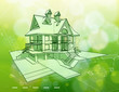 Ecology architecture design: house, plans & green background