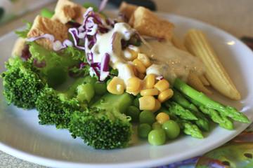 serving of healthy vegetables salad