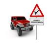 Schild mit Aufschrift »geprüfte Gebrauchtwagen« und Jeep