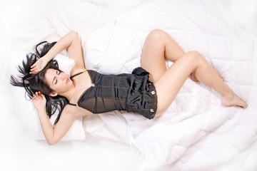 Beautiful woman sleep on bed