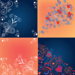 Set of decorational floral backgrounds