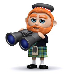 3d Scotland looks through his binoculars