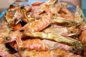 crayfishes cooked on the grill