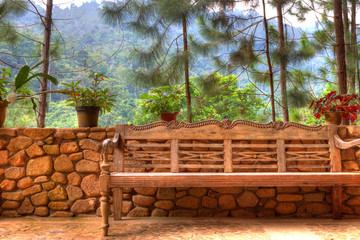 HDR view of a bench in a rainforest