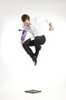 angry businessman jumping and stomping on portfolio