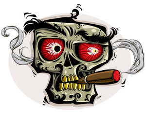 Skull smoking cigar. Vector  illustration.