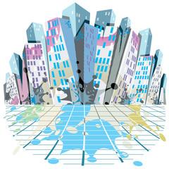 Urban background. Vector illustration.