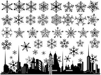 Urban Cityscape Snowflakes Elements