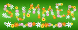 Glossy flower SUMMER letters on green