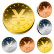 shiny yen currency token coins set
