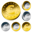shiny euro currency token coins set