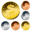 shiny dollar currency token coins set