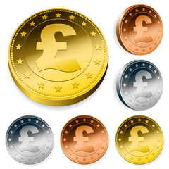 shiny pound currency token coins set