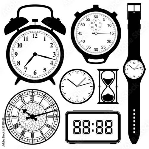 clock and watch collection black and white
