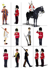 Big set of the few kinds guards.  Vector illustration