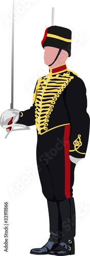 Royal Guard with sword at Buckingham palace in London. Vector il