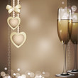 romantic congratulatory vector background with two glasses