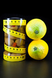 healthy food-olive and lemons support a harmonous figure.. poster