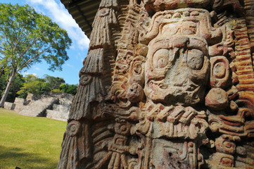 Sculptures in Archeological park in Copan ruinas