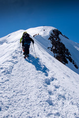 Climbers groups on Mont Blanc massif