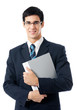 Smiling happy young business man with folder, isolated