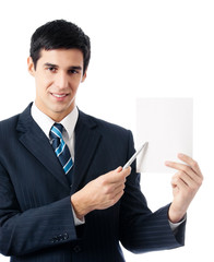 Business man showing signboard with copyspase, isolated