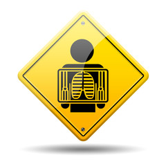 Señal amarilla simbolo rayos x