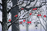 Fototapety Bullfinches on trees in winter city
