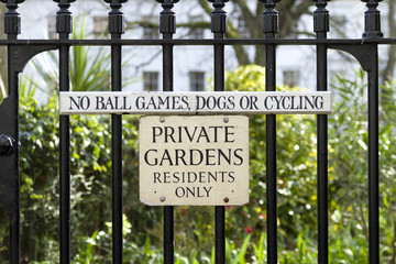 Private Gardens Sign