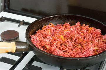 Minced meat on frying pan
