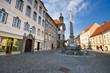 Square with monument in Ljubljana, Slovenia