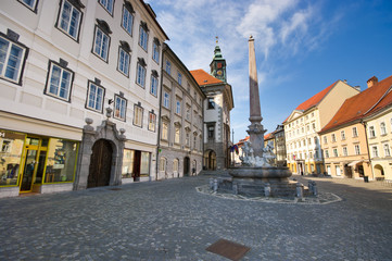 Square with monument in Ljubljana, Slovenia