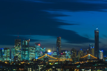 Brisbane City, Australia at Night with Story Bridge