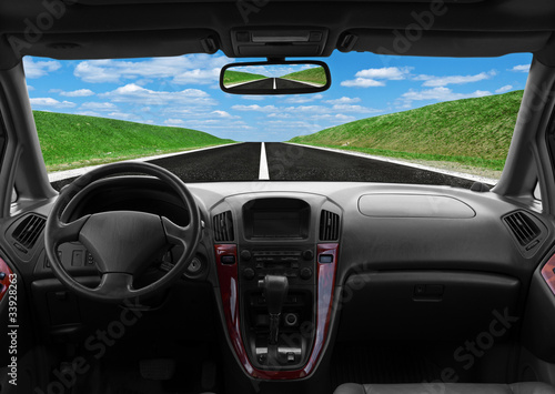 Inside car view at high speed