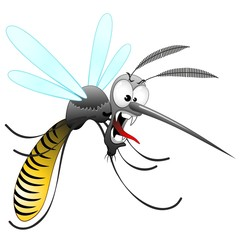 Zanzara Tigre Cartoon-Funny Mosquito-Moustique-Vector