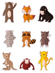 cartoon wildlife animal icons set