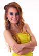 A pretty brunete girl in yellow dress